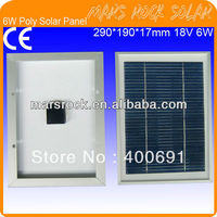 6W 18V Small Power Poly Silicon Solar Panel Module With Aluminum Alloy Frame High Transparent Tempered