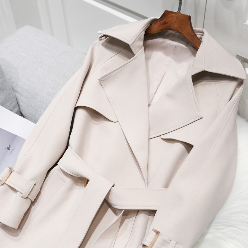 Women's Double-Breasted Trench Coat With Belt Autumn New Lapel Collar Loose Long Windbreaker Russia Style Casual Outwear R958