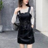 2019 spring Women Retro Dress Autumn Spring Suspender Sundress PU leather sheat Vest Overall Dress Female Natural Casual Dresses