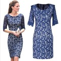 2014 new long-sleeved lace dress temperament Slim Dress for women free shipping F228
