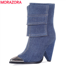 MORAZORA 2020 new fashion ankle boots women Metal pointed toe denim high heels shoes vintage autumn winter Chelsea boots woman