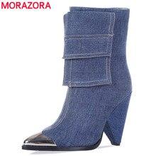 MORAZORA 2020 새로운 패션 발목 부츠 여성 금속 지적 발가락 데님 하이힐 신발 빈티지 가을 겨울 첼시 부츠 여성