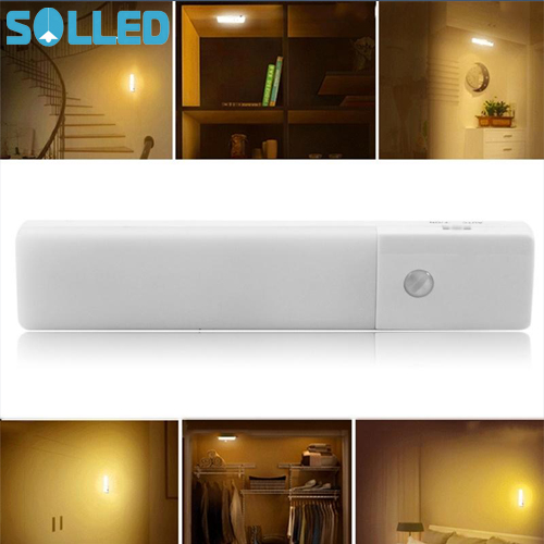 SOLLED LED USB Chargeable Motion Sensor Night Light Human Body Induction Light Sensor Lamp for Wardrobe Corridor Basement