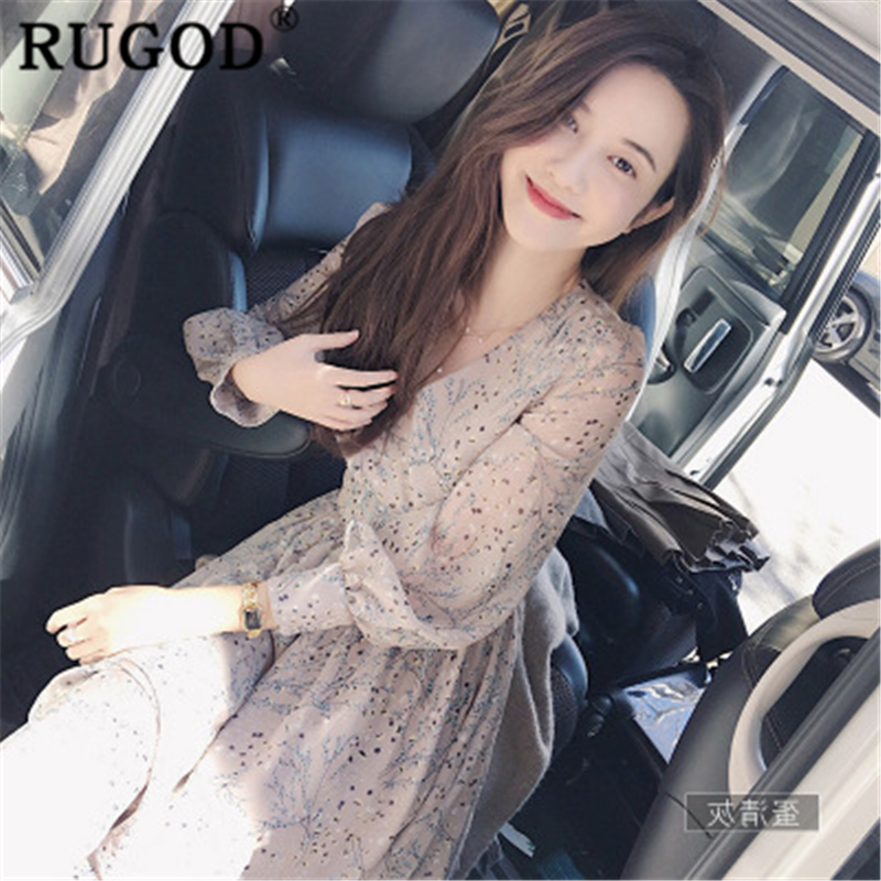 RUGOD Floral Print Women Dress Boho Chic Style Summer Dress Vintage Loose Casual Sweet High Waist Modis Femme Vestido Verano