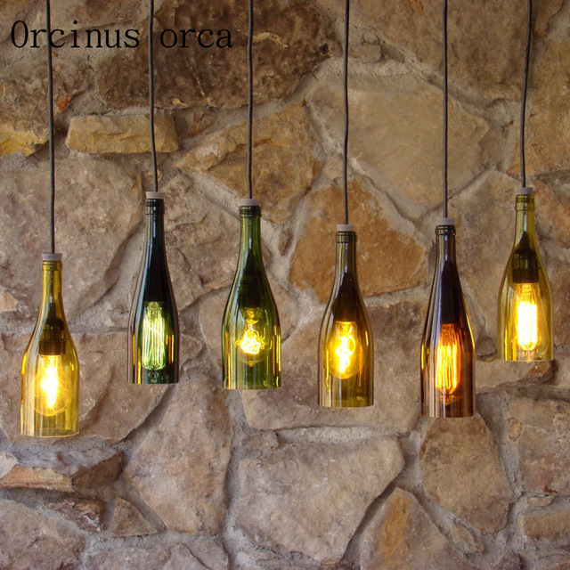 Créatif simple café Bar Restaurant vêtements magasin bouteille décoration industrie lustre lanterne affranchissement gratuit