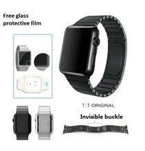 I enlace pulsera para apple watch band correa de acero inoxidable con 1:1 original stealth cierre espacio negro y plata generación 3