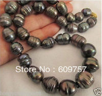 Use Natural Pearl NECKLACES Large Noblest AA+ 12 13mm black baroque pearl necklace 18
