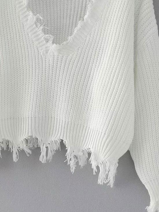 HTB1zgOLfxsIL1JjSZFqq6AeCpXa1 - FREE SHIPPING Women Sweaters One Size Ripped V Neck JKP363