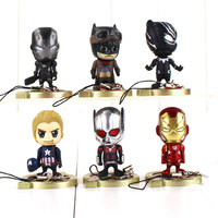 6pcs/set Avengers Infinity War Keychain Thanos Iron Man Black Panther Captain America Ant Man Action Figure Modell Doll for Kids