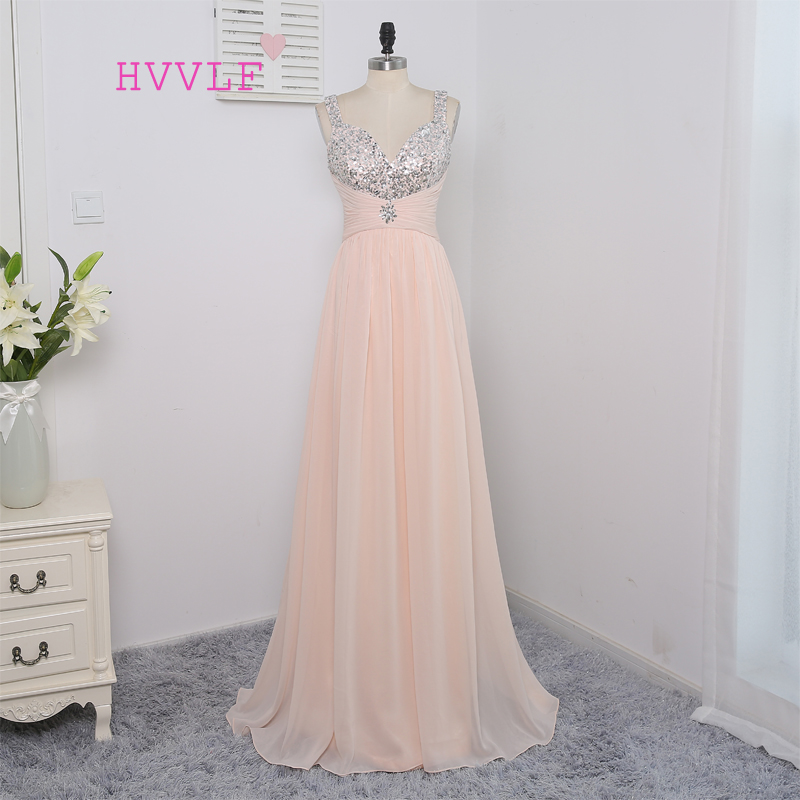 HVVLF Peach 2017 Prom Dresses A line Spaghetti Straps Sequins Crystals Sexy Long Prom Gown Evening