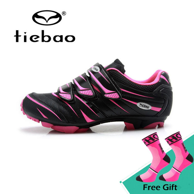 98b46f96bc6575 Tiebao New Women Mountain Bike Shoes Non-slip Soft MTB Riding Shoes Female  Self-locking Cycling Shoes Sapatos de ciclismo