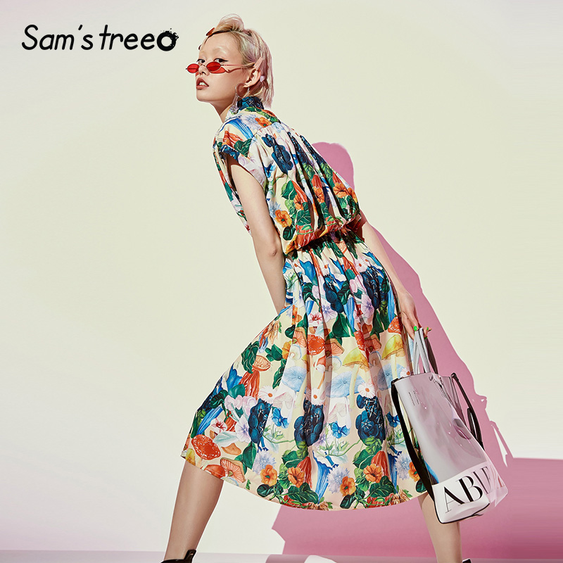 Samstree Floral Print Women Dresses Fashion Square Collar Lace up Female Mid Calf Dress 2019 Summer
