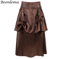 Beonlema Women Punk Vintage Skirt Black Sexy Steampunk Gothic Retro Skirts Party A Line Skirt Clubwear Corset Skirt