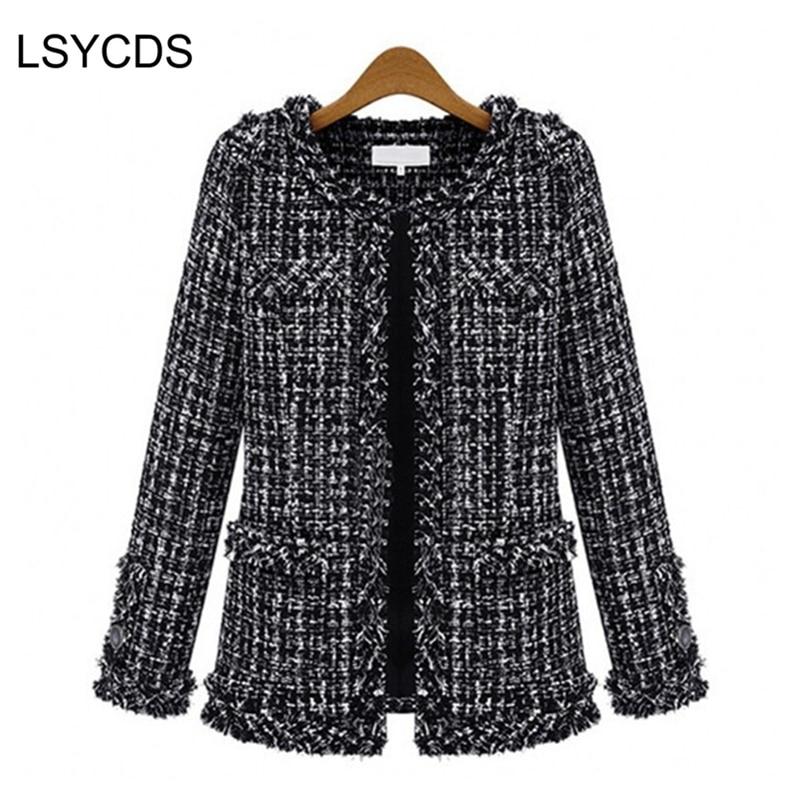 2018 Women Basic Coats Fashion Elegant Vintage Tweed Winter Casual Formal Woolen Overcoat Coat Winter Jacket