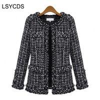 Fashion Women S Elegant Vintage Tweed Winter Casual Formal Woolen Overcoat Coat