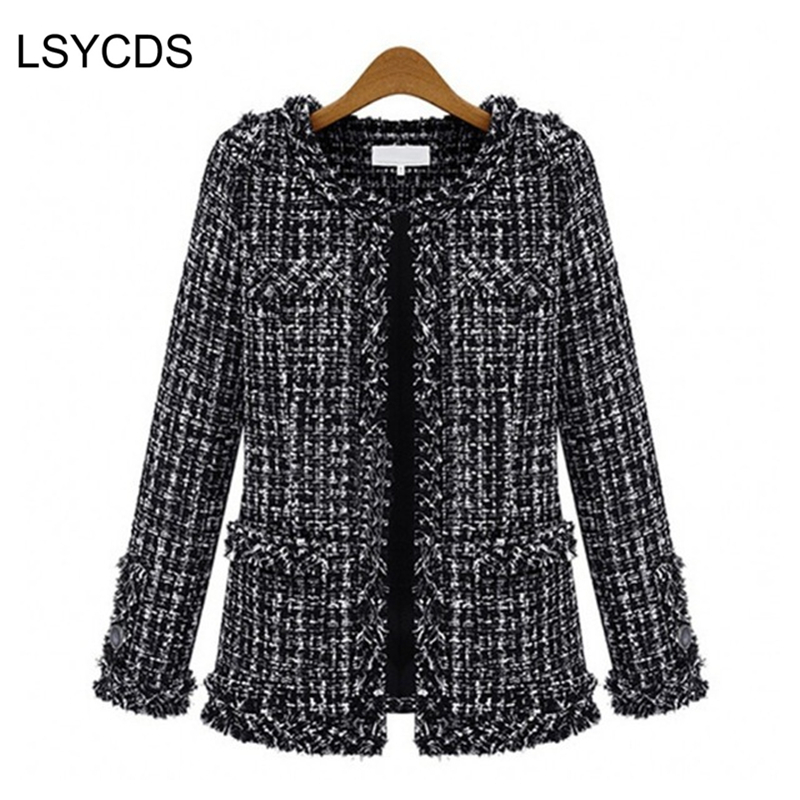 2018 Women Basic Coats Fashion Elegant Vintage Tweed  Winter Casual Formal Woolen Overcoat Coat Winter Jacket Women-in Wool & Blends from Women's Clothing    1