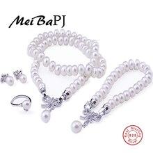 [MeiBaPJ] Cultura Real Perla 925 Sterling Silver Jewelry Set Collar Pulsera Pendientes Y Anillo Para Las Mujeres de La Boda Accessaries