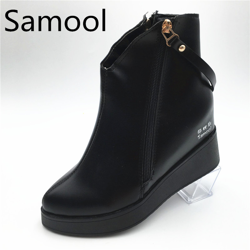 Autumn Winter Womens Fashion Wedge Heel Ankle Boots Genuine Leather Height Increasing Female Warm Winter Botas With Plush QX5 bamboo womens driven 77 casual wedge