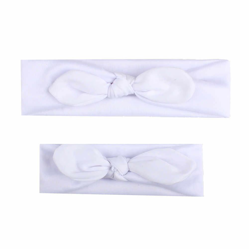 2 Stks/set Moeder En Dochter Bijpassende Hoofdband Boog Knoop Elastische Tulband Haarband Hoofddeksels Baby Meisjes Haar Accessoires