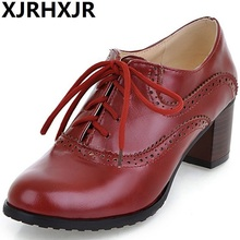 XJRHXJR Women Oxfords Med Heel Shoes Lace Up Round Toe Brand Fashion Causal Brogue Beige Black Large Size 34-43