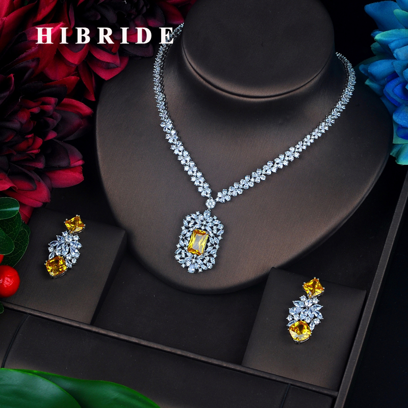 HIBRIDE Sparkling Yellow Stone Cubic Zircon Jewelry Sets Long Pendanties Drop Earring Necklace Set Dress Accessories