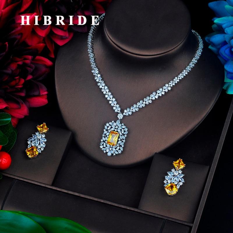 HIBRIDE сверкающими желтый камень кубический циркон ювелирных изделий Длинные Pendanties серьги Цепочки и ожерелья комплект платье аксессуары N-639