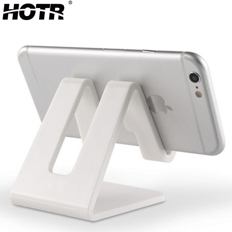 HOTR Universal Desk Holder Tablet Mobile Phone Holder With Shock-proof Silicone Pad Strong Plastic Cell Phone Holder Stand Mount