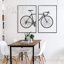 Nordic black and white fashion bike Child's room decoration Modular pictures canvas painting art posters and prints(China)