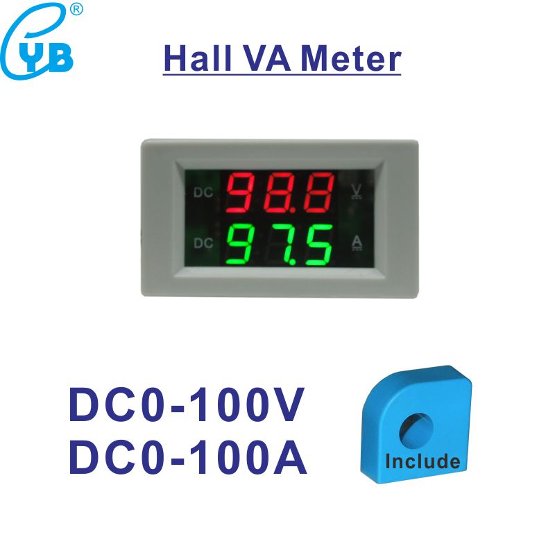 US $13 0 |Hall LED DC Ammeter Voltmeter Digital DC 0 100A CT Current Meter  Tester DC Digital Ammeter Hall Current Transformer Hall Sensor-in Voltage
