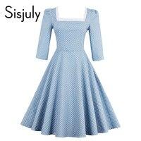 Sisjuly Women Vintage Dress Polka Dots Blue Straps A Line Sweet Elegant Party Dresses Summer 2017