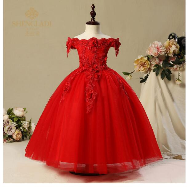 Girl's Wedding Formal Dresses 2018 Off-shoulder Long Gauze Gowns Flowers Girls Princess Dress Kids Birthday Party Prom Dress Red серьги telle quelle серьги