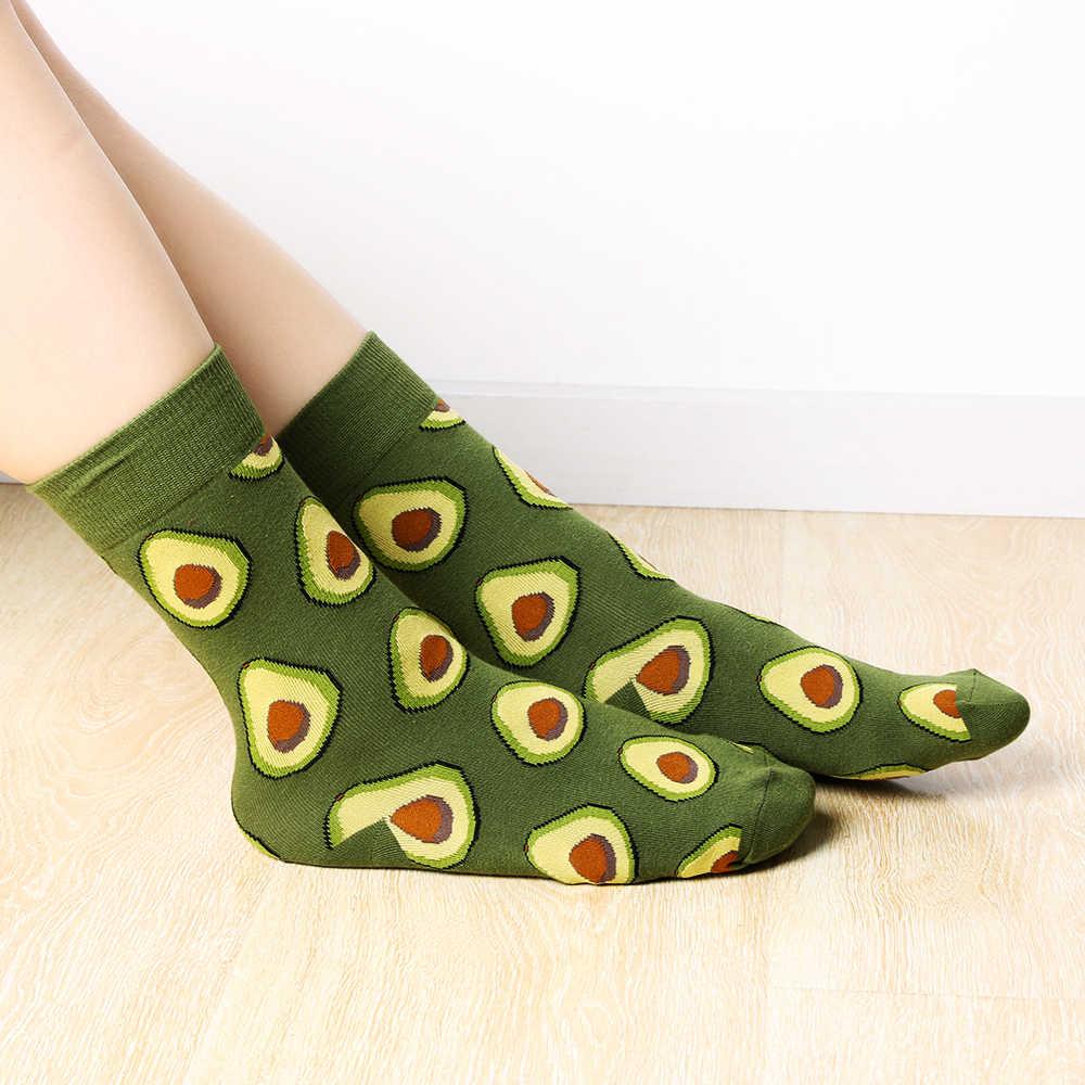 Engraçado 1 Par Moda Unissex Alta Meias Meias Mulheres 3D Abacate Maçã Cereja Fruta Feliz Sock Crew Sock Homens Arte meias de algodão Macio