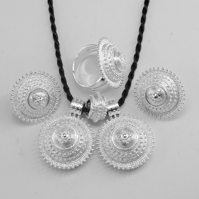 new Silvery ethiopian set jewelry pendant rope earring ring silver plated eritrea africa wedding ethiopia sets habesha #056206