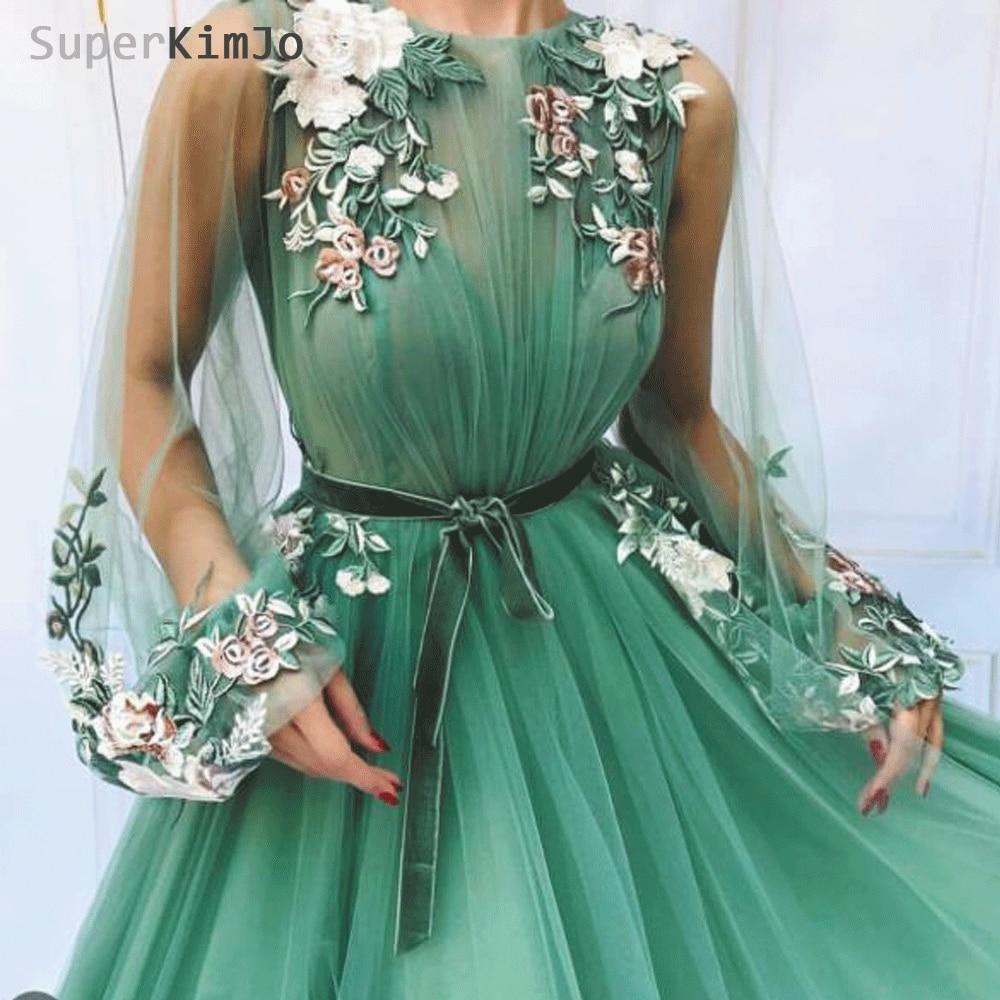 SuperKimJo Vestidos De Gala Flare Sleeve Green Prom Dresses 2020 Embroidery Applique Elegant Prom Gown Vestido De Gala