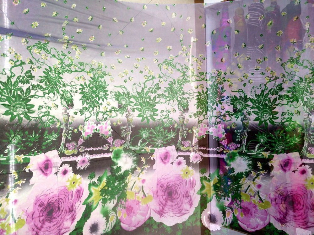 Pink/Green Gradient Color Romantic View Inkjet Flowers Print 100% Mulberry Silk Chiffon Fabric For Party Dress/sleepwear Scarf