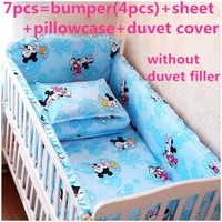 Discount 6 7pcs Mickey Mouse Baby Bedding Set Baby Cot Crib Bedding Set Cartoon Animal Baby