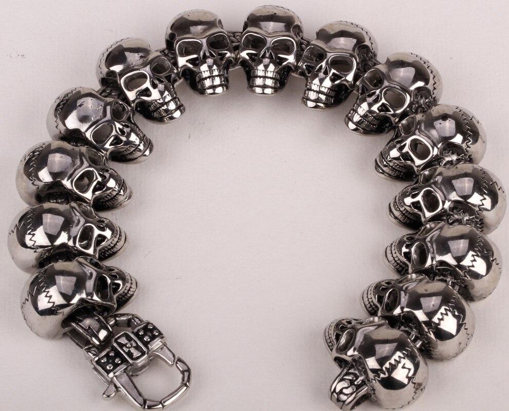 Stainless steel men bracelet skull biker heavy jewelry gifts for dad men boyfriend wholesale dropshipping 308 silver tone 8.5 opk biker stainless steel men bracelet