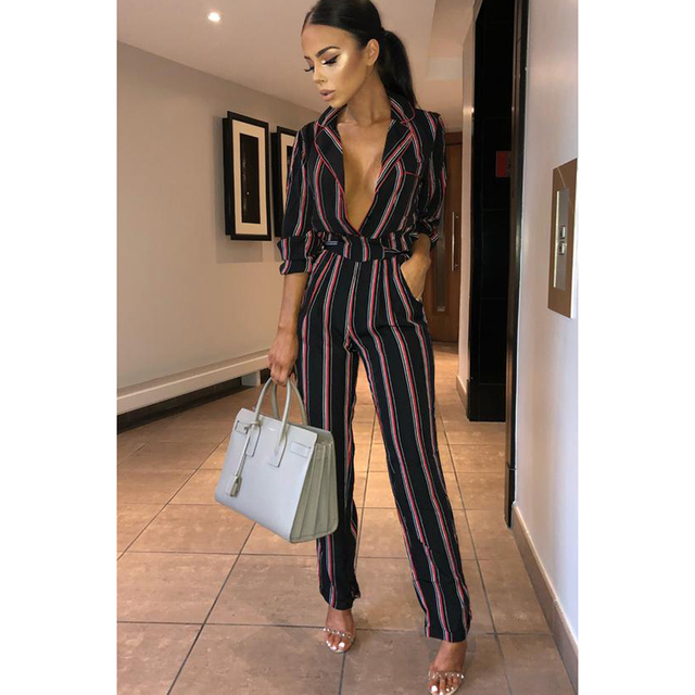Fashion striped printed jumpsuits for women 2018 Half sleeve turn down collar long rompers womens jumpsuit Autumn new overalls 5