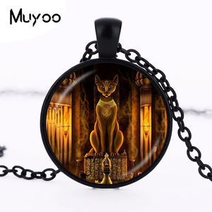 Ancient Egyptian Cat Goddess Statue Necklace Egypt Lord Pendant Handmade Glass Necklace Women Jewelry Amulet Accessories HZ1(China)
