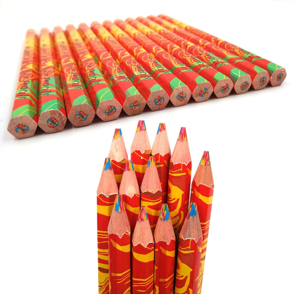 10PCS/Lot) Wooden Pencils Rainbow Jumbo Colored Pencils 4 Mixed Colors Pencil DIY Drawing Pens Stationery for Kids Graffiti Pen bamboo pattern wooden small gadgets pencils rulers pens holder