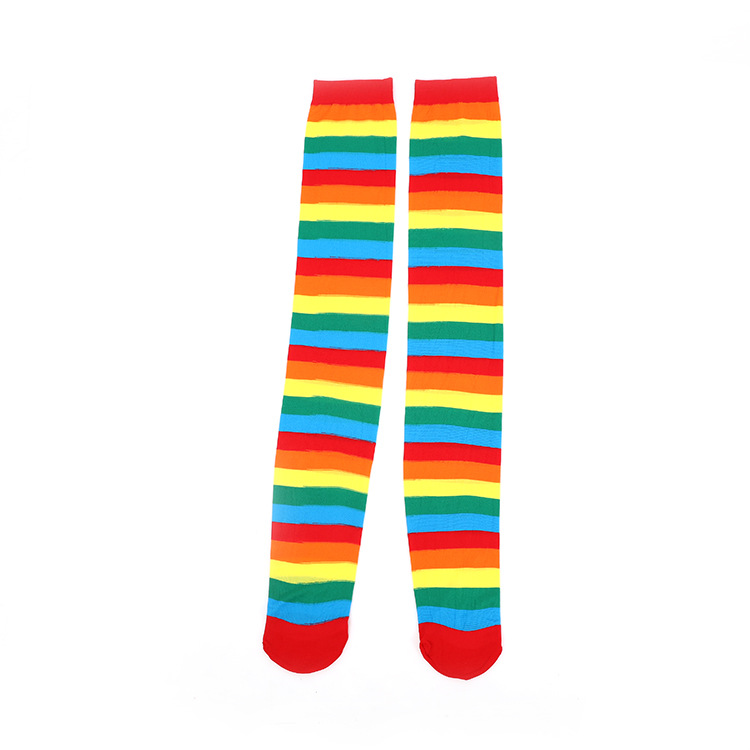 Women Stockings Cute Cotton Thigh High Mixed Colored Rainbow Striped Long Stockings Knitted Ladies Over The Knee   Socks