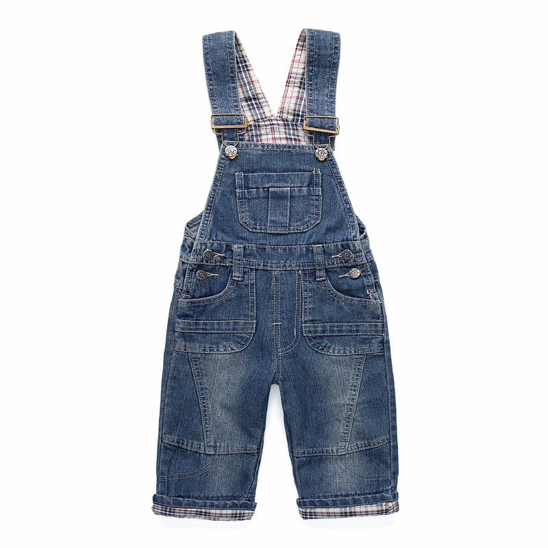 free shipping Classic spring autumn children's overalls infant soft denim bib pants baby boy girl jeans casual trousers