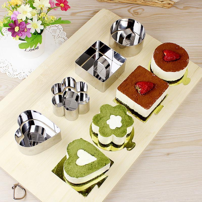 5pcs Stainless Steel Cake Mold DIY Bakeware Tools Cupcake Mold Dessert Slicer Cake Ring  ...
