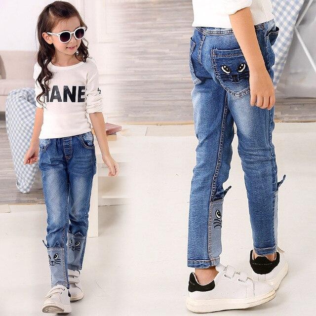 fr hling herbst 2017 stereo katze jeans f r m dchen kinder zerrissene jeans mode jeans f r. Black Bedroom Furniture Sets. Home Design Ideas