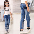 Spring Autumn 2016 Stereo Cat Jeans For Girls Kids Ripped Jeans Fashion Jeans For Teenagers Girl Denim Jeans