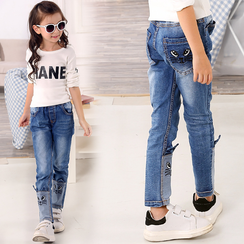 spring autumn 2017 stereo cat jeans for girls kids ripped. Black Bedroom Furniture Sets. Home Design Ideas
