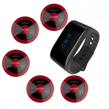 SINGCALL wireless restaurant bell system call waiter service 1 wrist waterproof mobile calling receiver and 5 multi key button