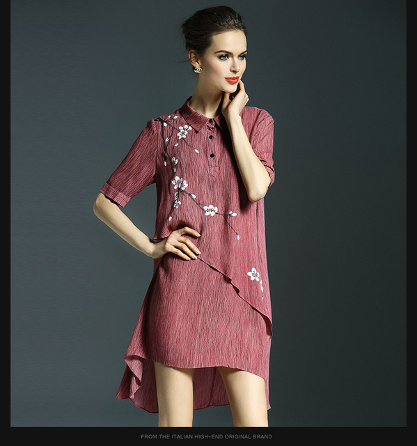 8995fcbae87811 women dress summer dress Chinese style spring and summer silk printed shirt  and long sections fold dress free shipping