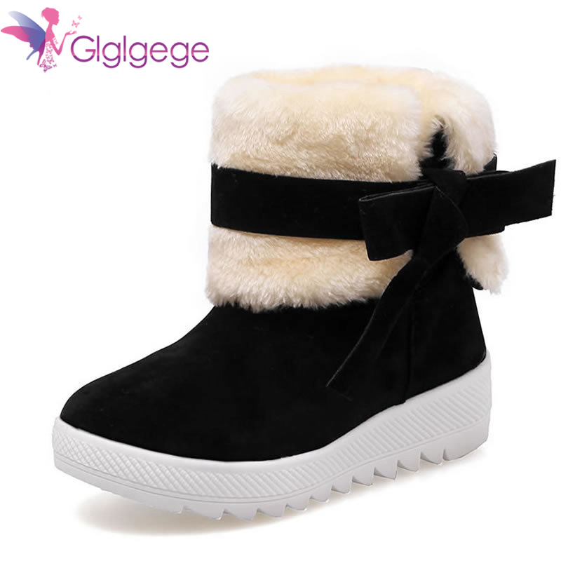 Glglgege New Warm Snow Boots Winter Female Ankle Boots Warmer Plush Bowtie Fur Suede Rubber Flat Slip On Platform Women's Shoes zorssar 2017 new classic winter plush women boots suede ankle snow boots female warm fur women shoes wedges platform boots