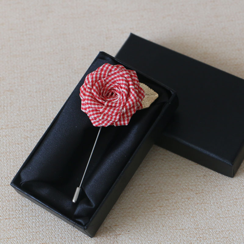 Unique Design Fashion Korean Fabric Flower Long Pin Boutonniere 2018 Business Men's Quality Clothing Accessories Brooch Gift Box